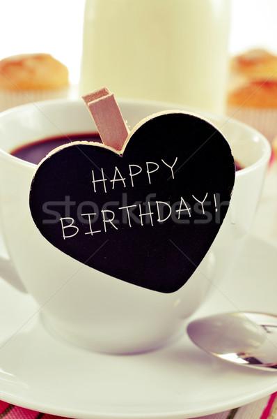 Ontbijt tekst gelukkige verjaardag Blackboard geschreven beker Stockfoto © nito