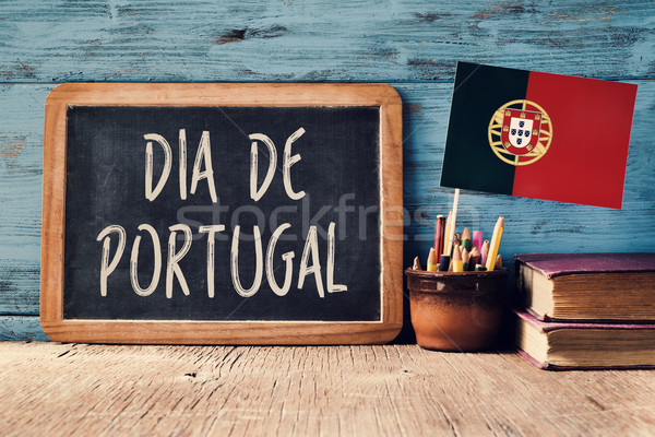 Stock photo: text Dia de Portugal and Portuguese flag