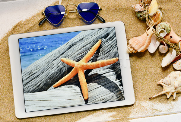 sunglasses, starfish in a tablet and seashells Stock photo © nito