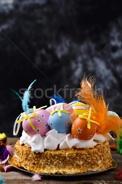 Bolo Espanha páscoa diferente decorado ovos Foto stock © nito