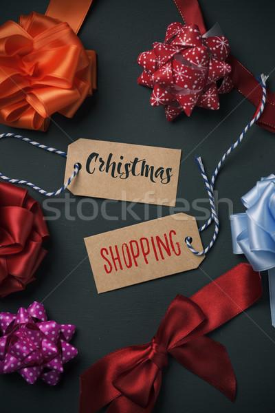 Ajándék íjak szöveg vásárlás karácsony írott Stock fotó © nito