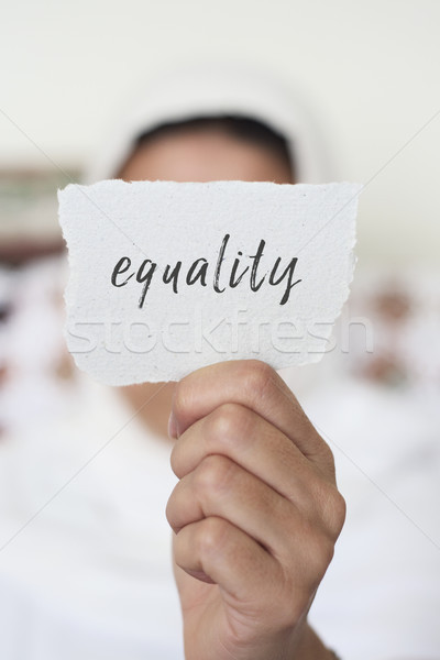 女性 ヒジャーブ 文字 平等 クローズアップ 若い女性 ストックフォト © nito
