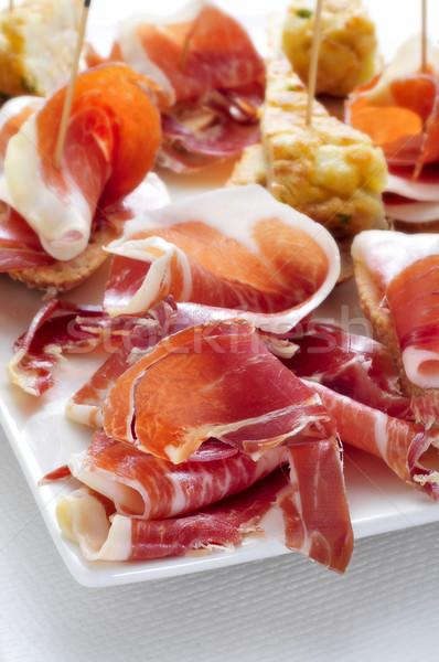 İspanyolca tortilla serrano jambon hizmet Stok fotoğraf © nito