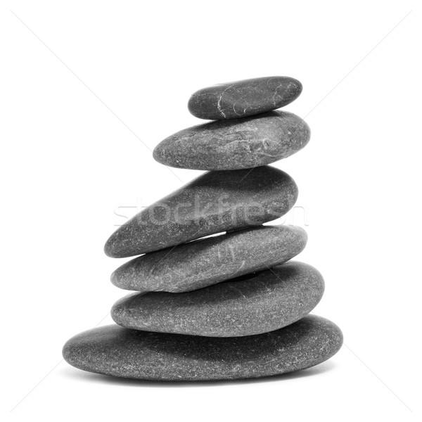 Zdjęcia stock: Zrównoważony · zen · kamienie · biały · relaks