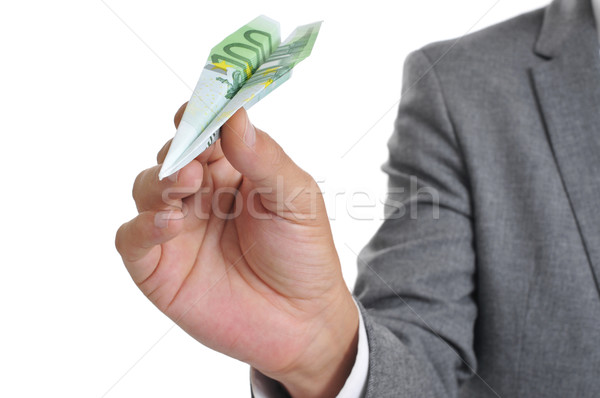 Stockfoto: Zakenman · papier · vliegtuig · 100 · euro · bankbiljet