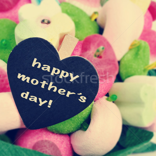 the sentence happy mothers day on a candy bouquet Stock photo © nito