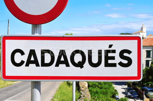 road sign at the entrance of Cadaques, in Spain Stock photo © nito