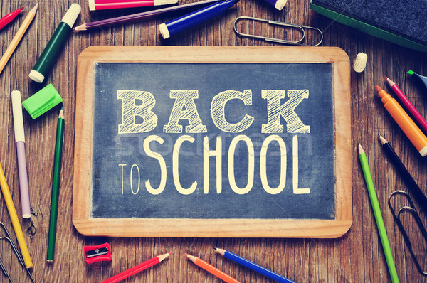 the text back to school written on a chalkboard, filtered Stock photo © nito