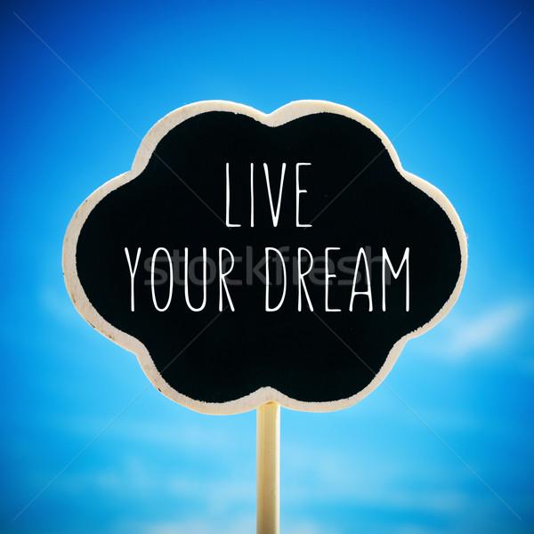 Schoolbord tekst live droom vorm gedachte bel Stockfoto © nito