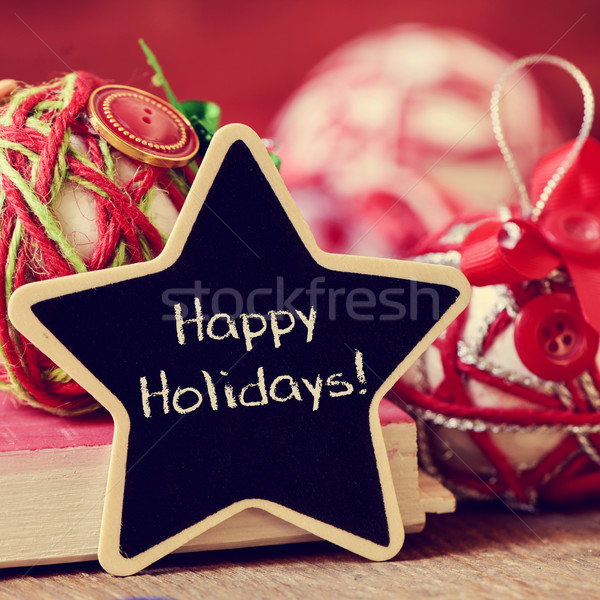 star-shaped chalkboard with the text happy holidays Stock photo © nito