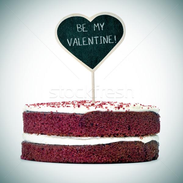 Stok fotoğraf: Kek · metin · benim · valentine · kırmızı · kadife