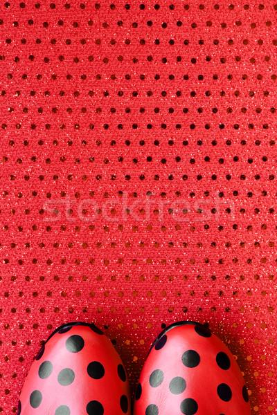 Czerwony buty czarny shot pary sztuki Zdjęcia stock © nito