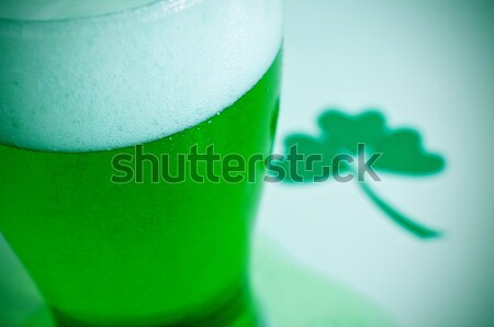 dyed green beer and three-leaved shamrock Stock photo © nito