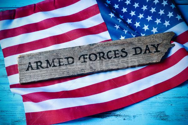 Tekst krijgsmacht dag vlag Verenigde Staten geschreven Stockfoto © nito