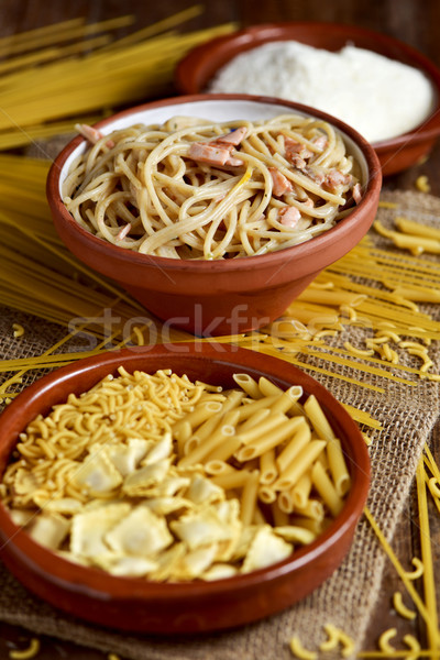 パスタ スパゲティ 粉チーズ クローズアップ プレート ボウル ストックフォト © nito