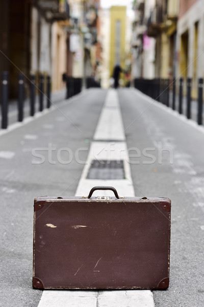 old suitcase in the middle of the street Stock photo © nito