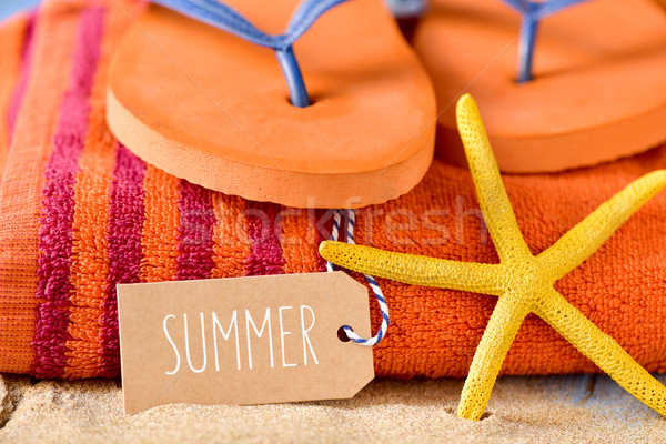 summer stuff and word summer in a brown label Stock photo © nito