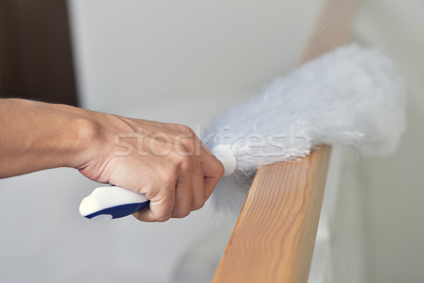 young man dusting the house with a microfiber duster Stock photo © nito