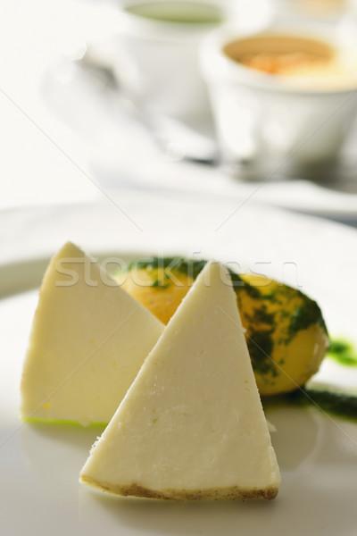 Queso España primer plano piezas blanco cerámica Foto stock © nito