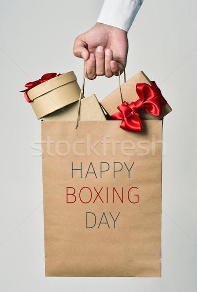 贈り物 文字 幸せ ボクシング 日 クローズアップ ストックフォト © nito