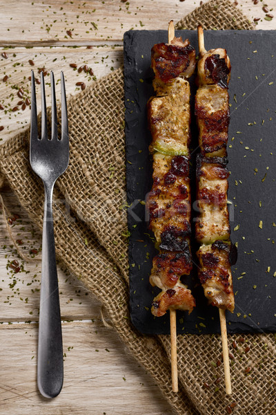 barbecued spiced chicken meat skewers Stock photo © nito