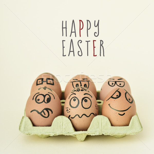 eggs with funny faces and text happy easter Stock photo © nito