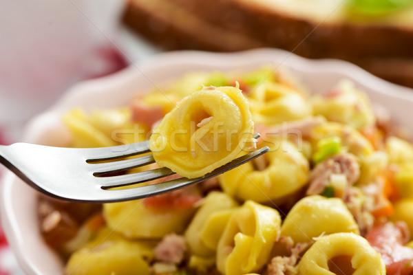 Tortellini salátástál közelkép kerámia tál tészta Stock fotó © nito