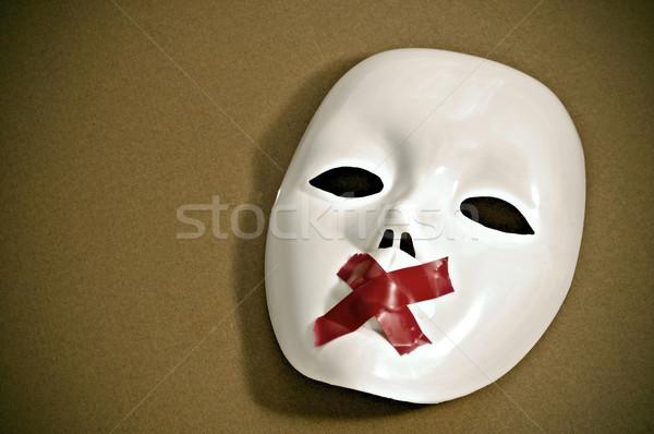 Stil witte masker bureaucratie strips kruis Stockfoto © nito