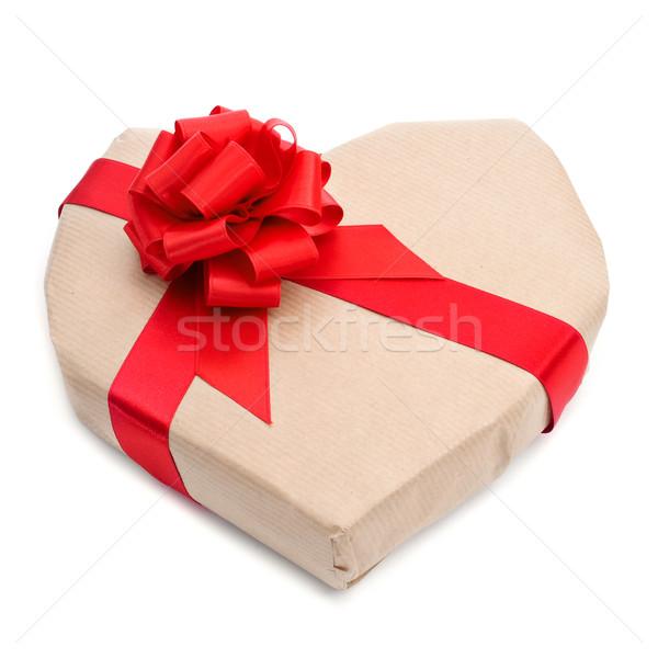 Ajándék vörös szalag fehér papír buli boldog Stock fotó © nito