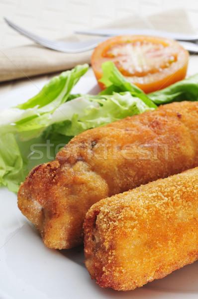 Espagnol porc longe roulé serrano jambon Photo stock © nito