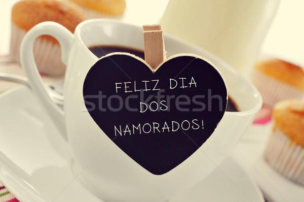 breakfast and text Feliz Dia Dos Namorados, in portuguese, for t Stock photo © nito