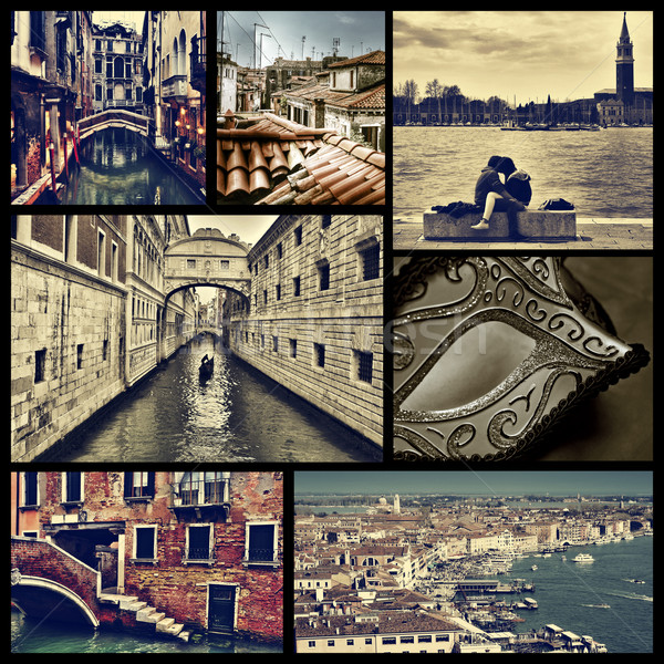 Stock photo: collage of different locations in Venice, Italy, cross processed