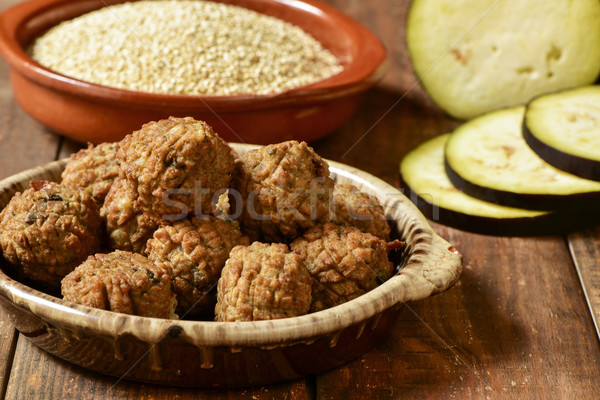 vegan meatballs on a wooden table Stock photo © nito