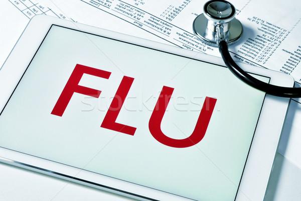 Wort Grippe Tablet-Computer Bildschirm Stock foto © nito
