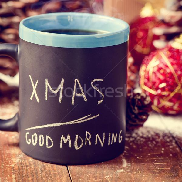 Metin noel sabah iyi yazılı kupa kahve Stok fotoğraf © nito