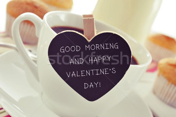 Kahvaltı metin sabah iyi mutlu sevgililer günü Stok fotoğraf © nito