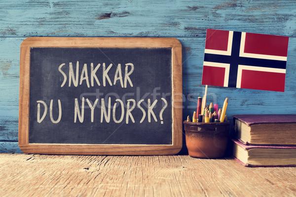 質問 話す ノルウェーの 書かれた 黒板 ポット ストックフォト © nito