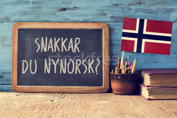 question do you speak Norwegian? written in Norwegian Stock photo © nito