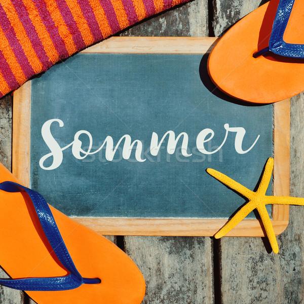 Estrellas de mar texto verano tiro par naranja Foto stock © nito
