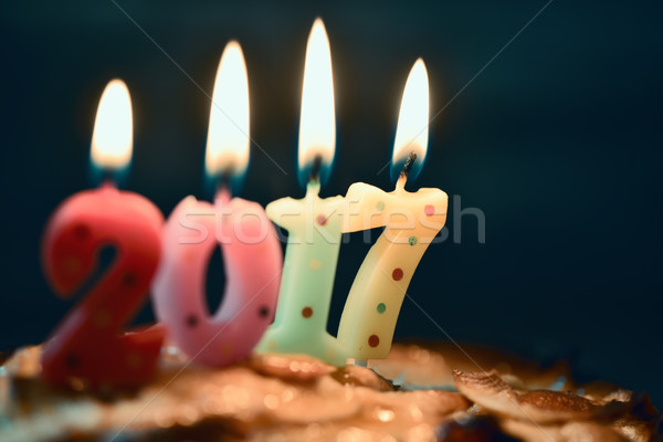 number 2017, as the new year, on a cake Stock photo © nito