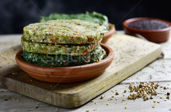 raw veggie burgers Stock photo © nito