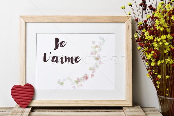 Stockfoto: Tekst · liefde · frans · foto · illustratie · harten