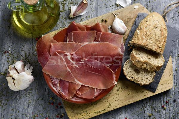 Spaans serrano ham shot plaat Stockfoto © nito
