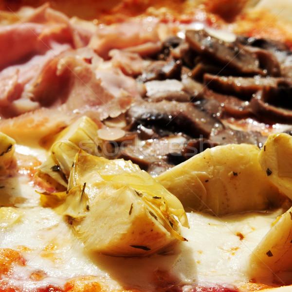 Cztery pory roku pizza szynka grzyby czarne oliwki Zdjęcia stock © nito