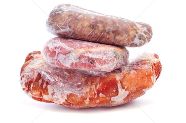 ストックフォト: 凍結 · 肉 · ソーセージ · 異なる · プラスチック · 白