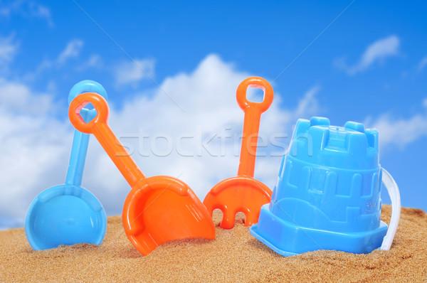 ковша грабли синий замок песок пляж Сток-фото © nito