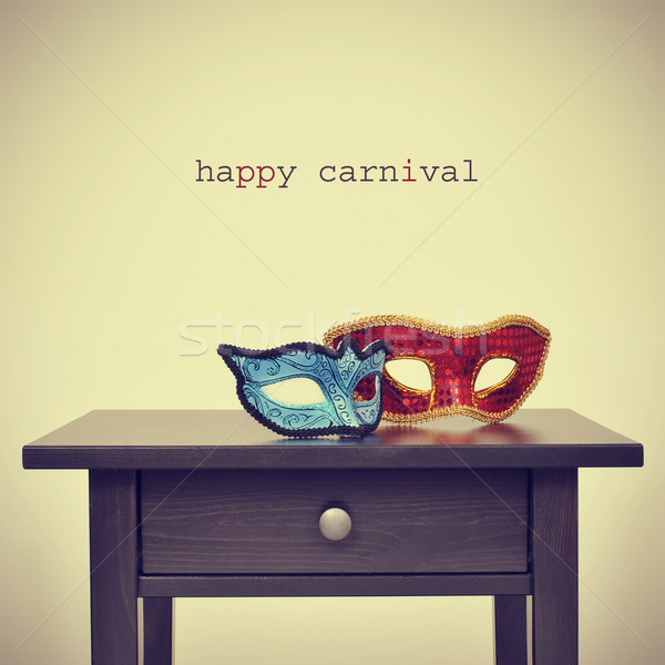 some masks and the text happy carnival, with a retro effect Stock photo © nito