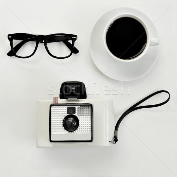 眼鏡 コーヒー インスタント カメラ ショット 白 ストックフォト © nito