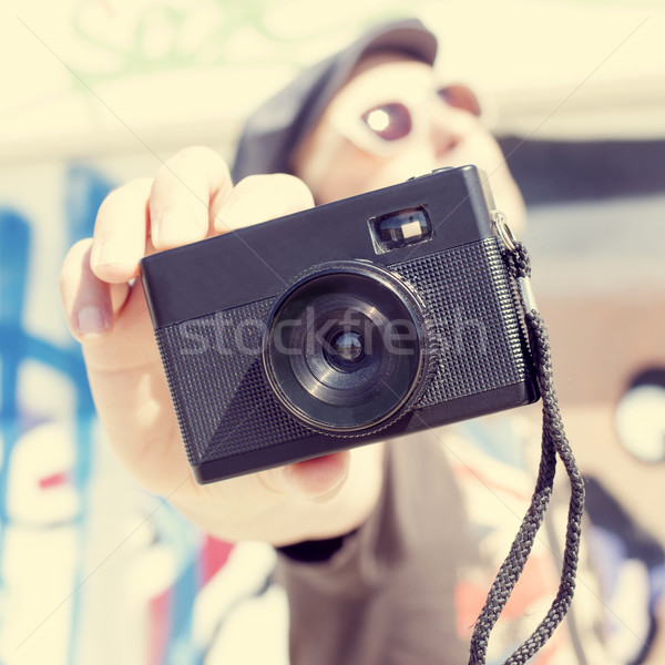 young man with a film camera Stock photo © nito