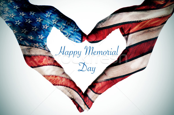 hands forming a heart patterned and text happy memorial day Stock photo © nito